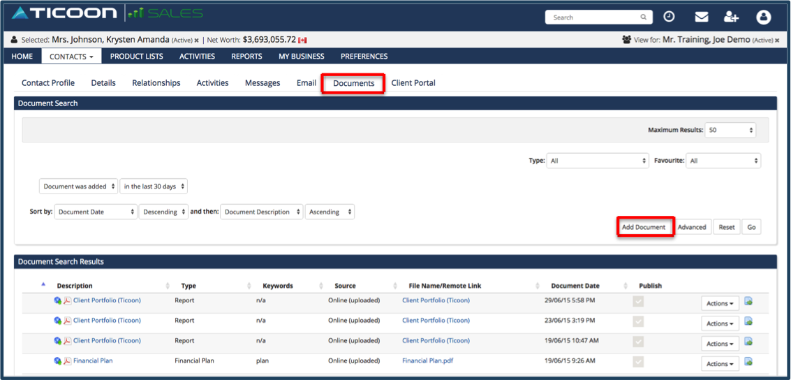 Advisors login to TicoonSales and add documents to their client's profile.