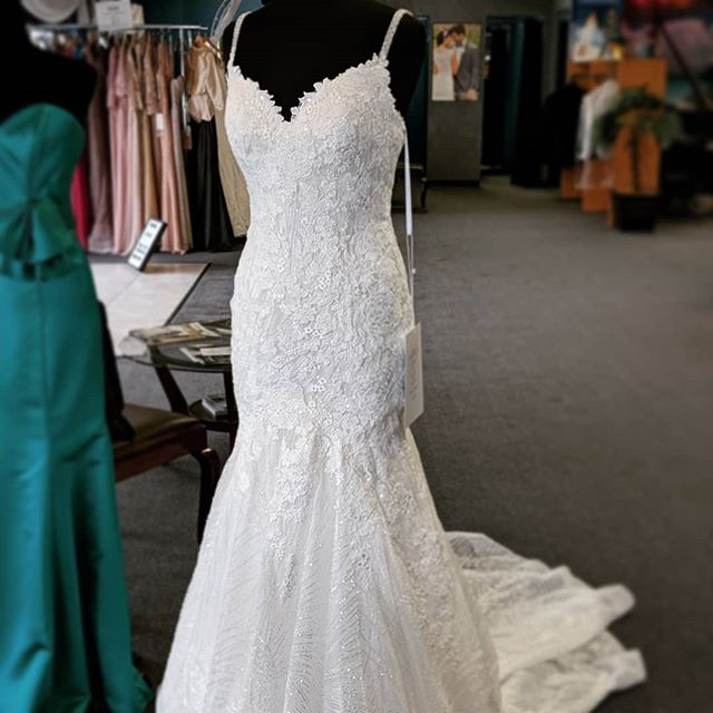 It's all about the sparkle with this gorgeous gown! Swipe ⬅️ to see up close!  #eleganzagallery #bride #allurebridals #sparkle #weddingdress #mermaid #sequins #bridetobe #futuremrs