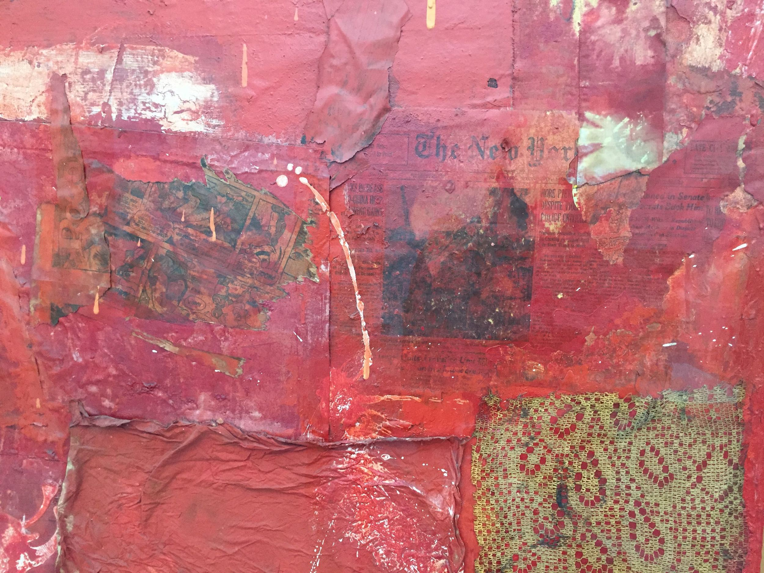 "Detail of an untitled 1954 Robert Rauschenberg combine. According to gallery notes, in 1983 the Broads traded a Van Gogh for this piece, which ""marks a turning point in their lives as collectors, a symbol of their increasing commitment to the works of contemporary artists."""