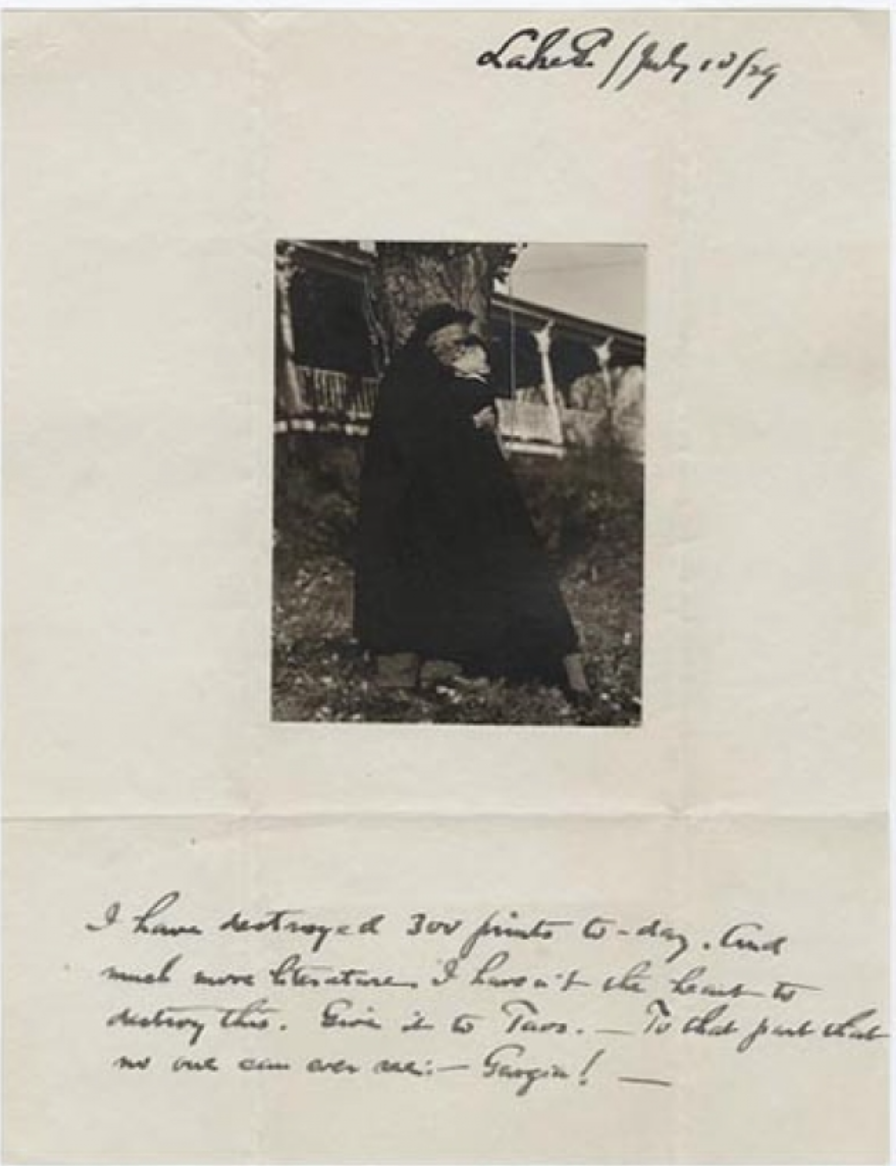"Stieglitz to O'Keeffe, 1929: ""I have destroyed 300 prints today. And much more literature. I haven't the heart to destroy this...""  Yale Collection of American Literature, Beinecke Rare Book and Manuscript Library"
