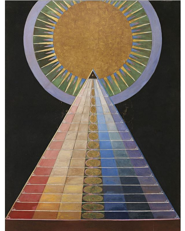 "Obsessed with Hilma af Klint, a mystic who's paintings were amongst the very first abstract art (predating Kandinsky). This piece was finished in 1907 and is titled ""Altarpiece, No. 1, Group X, Altarpieces"" #hilmaafklint"