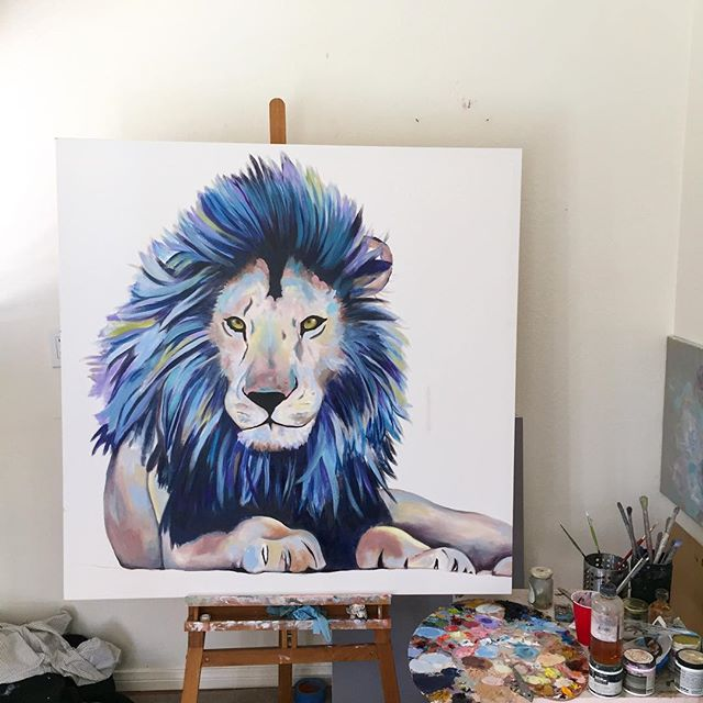 "Work in progress 🦁 ""48x48"" . . . . . #oilpaint #oilpainting #paint #painting #roar #illustrate #illustration #sketch #graphic #canvas #lion #lionking #lionsmane #lionpainting #animal #animalart #wip #blue #paws #commission #artstudio #kategordonart #create #artistsofinstagram #artgallery #draw #drawing #sandiegoartist #sandiegoart"