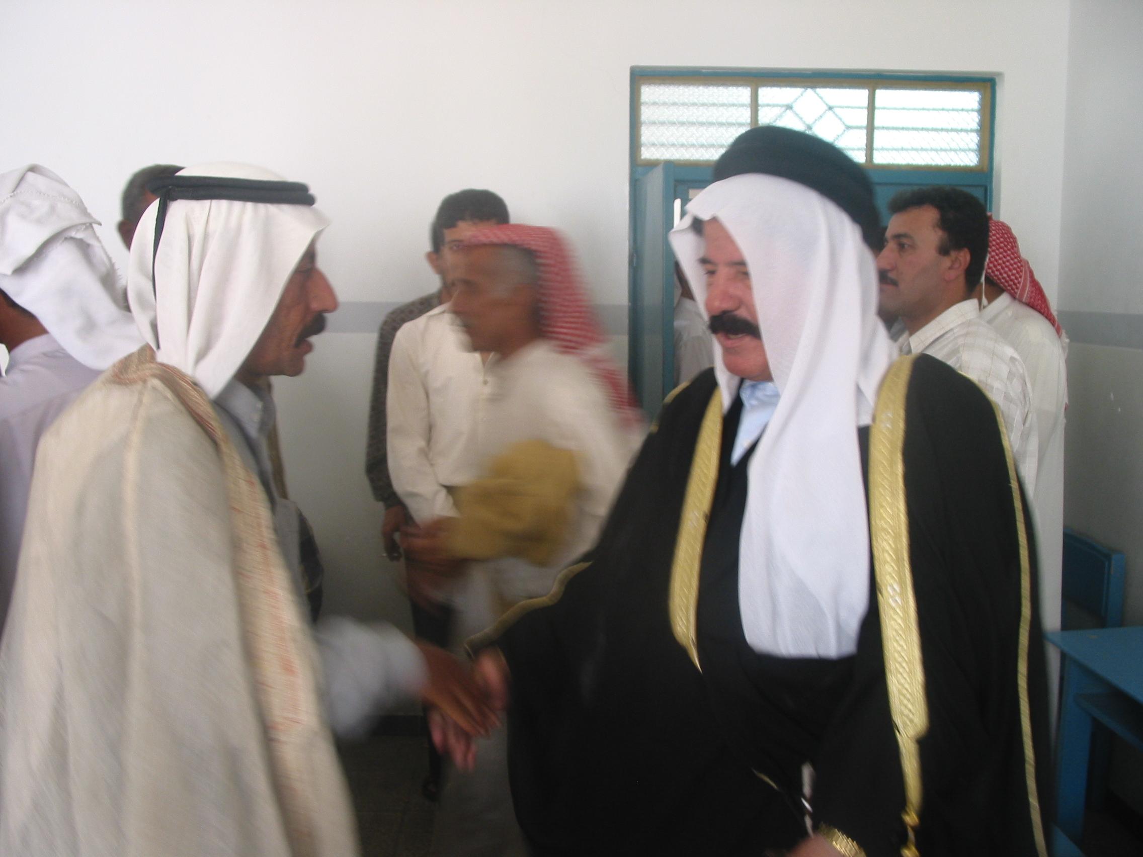 Ibrahim Al Jaburi receiving tribal leaders in his cell block.