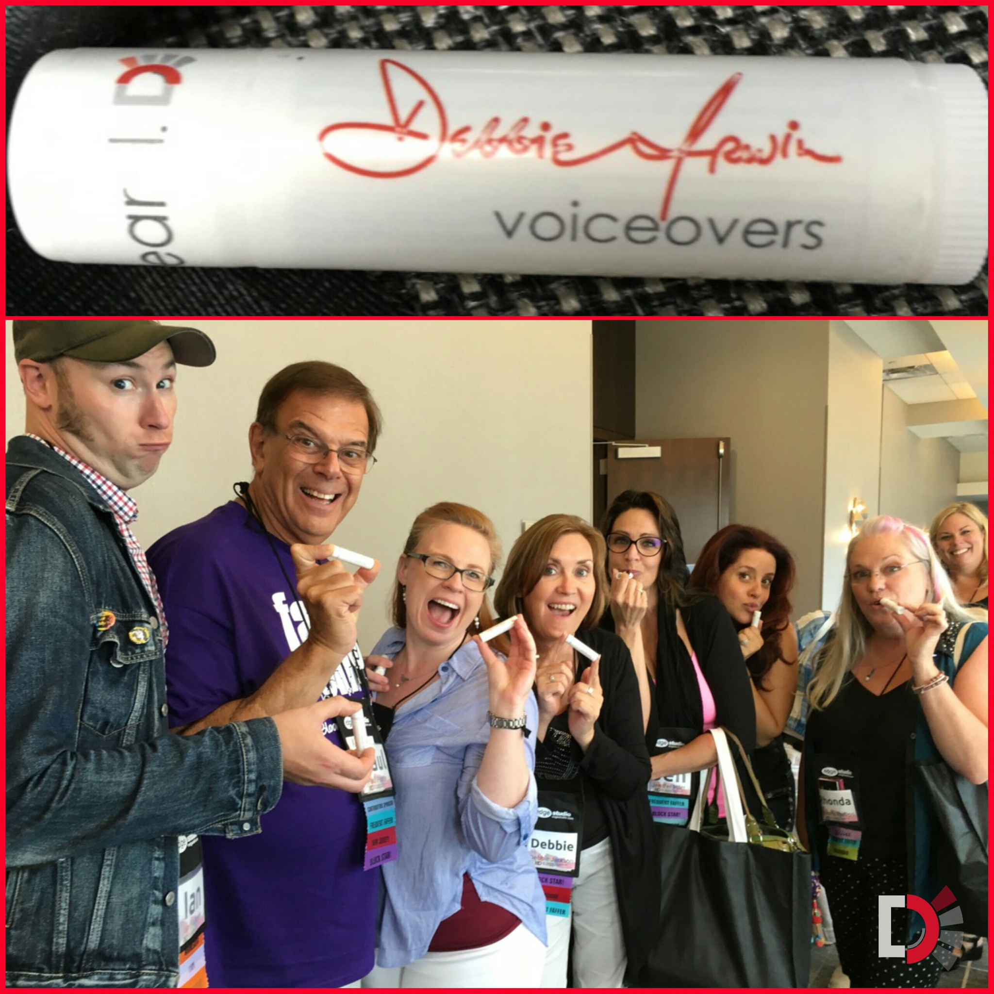 Faffcon Friends taking time out to apply a little Debbie Irwin Voiceovers chap stick!   Want one? Drop me a line!