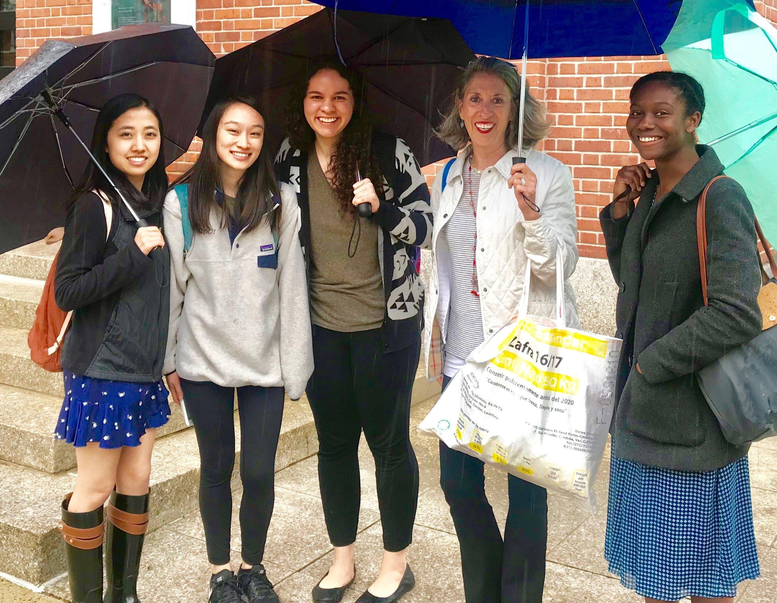 Debbie Irwin with Yale Students.