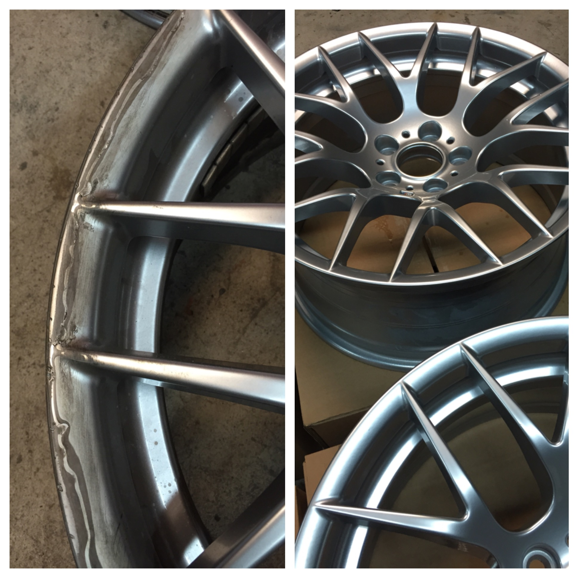 Freshly repaired and powder coated wheel.. the finished product after powder coating is incredible !
