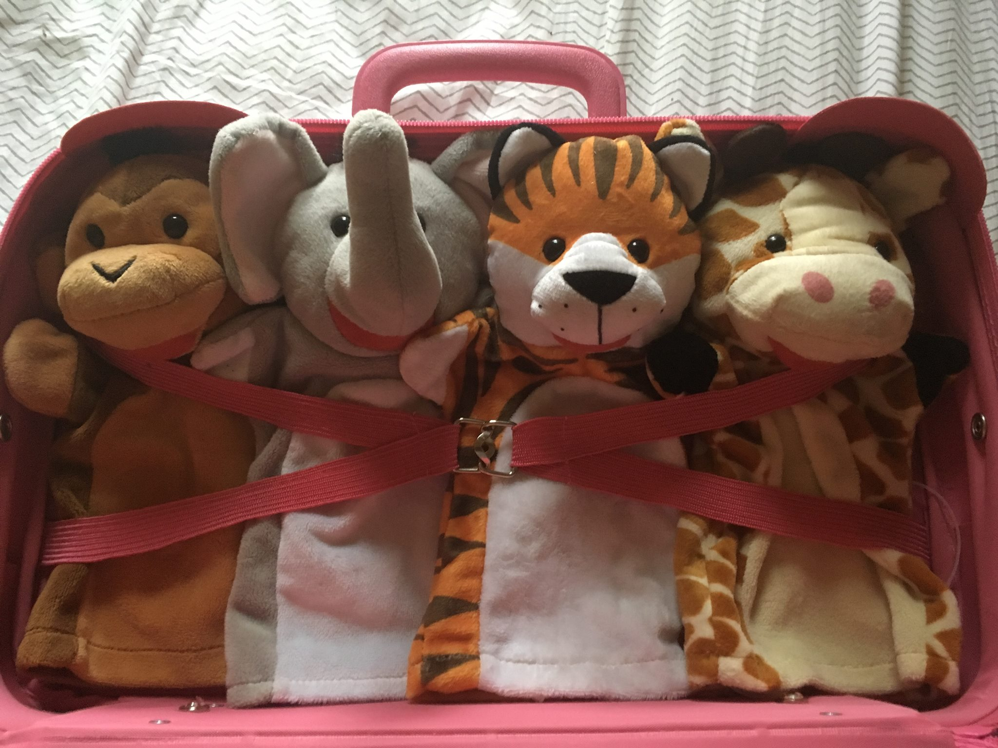 We're puppets that do improv! Danni the tiger, Blake the giraffe, Jo the elephant, and me, Charlie the monkey! Come snuggle up with Snuggleupagus!