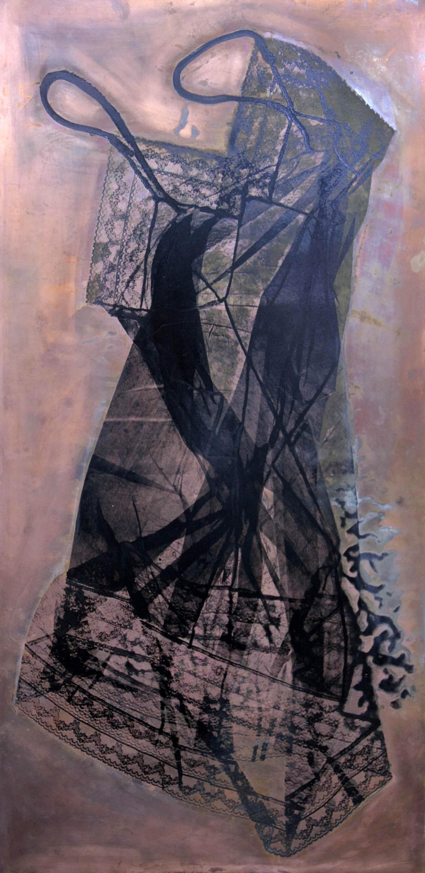 Vestale, tecnica mista su rame 100x50, 2010