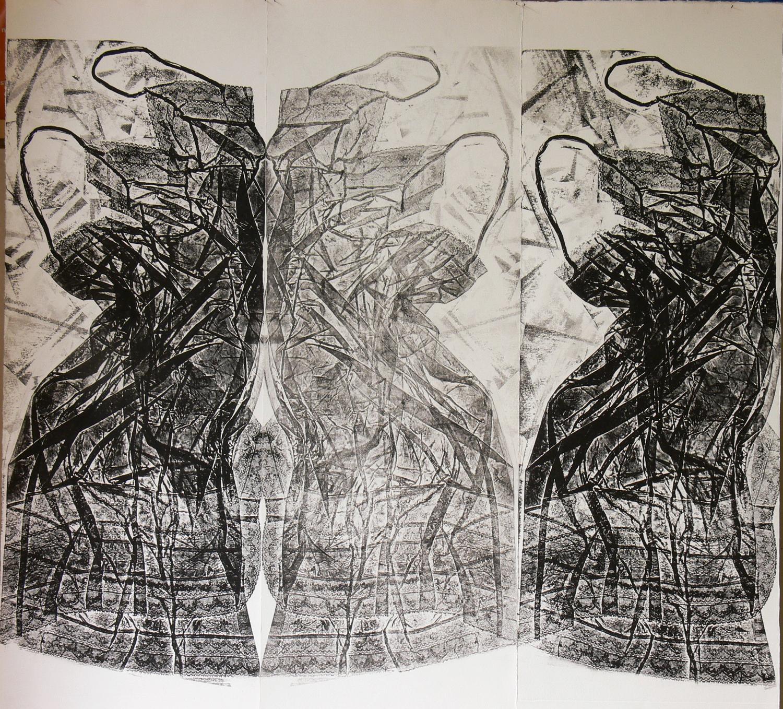 Vestali- Trittico . incisione e controstampa su carta cm 100x120