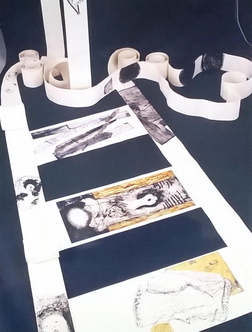 Binari   2002, Tecniche miste, installazione, carta Hahnemühle