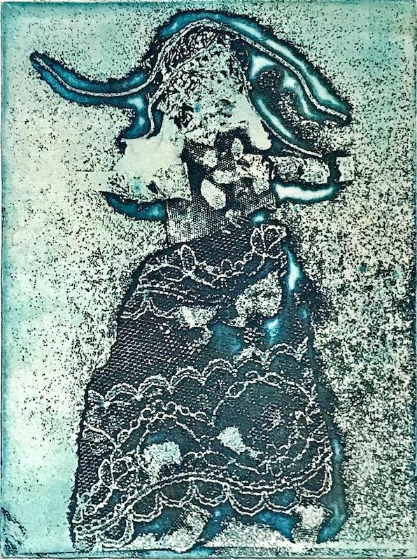 TRACCE E RIMANDI, 2008  Stampato in carta hahnemühle, il libro contiene la poesia  Di oggi  di Alberto Veca e la stampa originale di Sara Montani  Cenerentole  mm 155x120, acquaforte e ceramolle su lastra di rame. Copertina con stampa a secco, tratta da ricamo fatto a mano. Custodia in cartone nero con chiusura in ceralacca.  Testo composto con carattere Baskerville dalla Tipografia Campi di Quinto de' Stampi di Rozzano (Milano).  Esemplare n. 38/45  Officina Dei Carrubi Editore