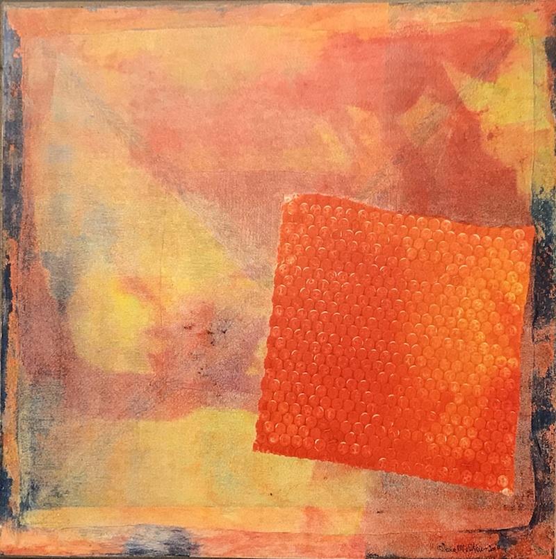 Omaggio a Satie:   Gnossienne 1 variazione 3. Vorrei volando -  2010, tecnica mista su carta intelata, 50x50 cm