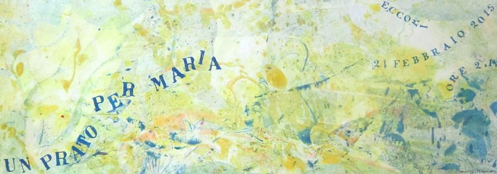 Un prato per Maria -  2015, olio su carta, carta Alcantara, 24,5 x 69,5 cm