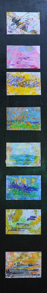 I colori ti salvano   2001, olio su carta, 20 x 120 cm (13,5 x 9,8 cm cadauna)