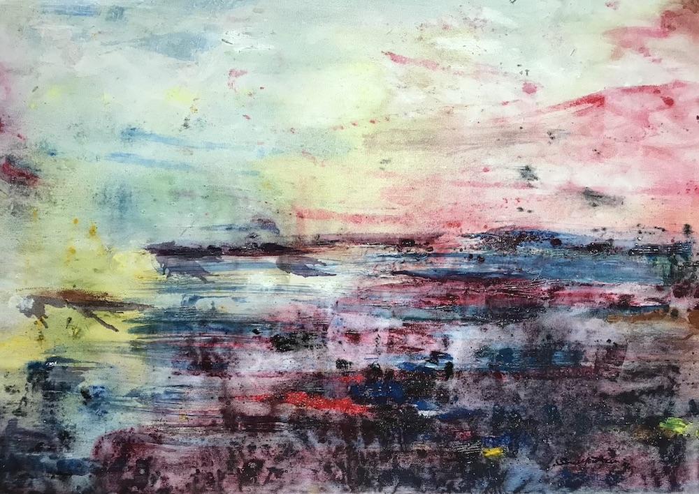 """Una raffica di vento. """"Torna azzurro il sereno e tornano le ombre""""  ( Sabato del villaggio , Leopardi) - 1994, olio su tela, 35 x 50 cm"""