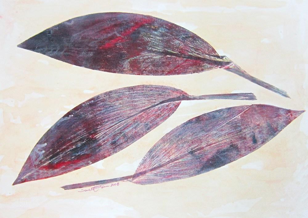 Foglie   2008, foglie stampate a monoprint e acrilico, carta Graphia, 50 x 70 cm