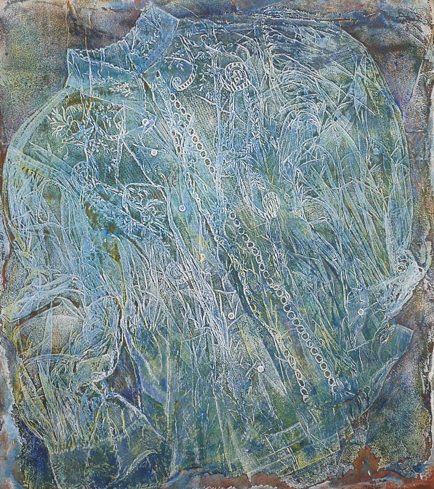 Sara Montani,  Agnese,  ricamo, 2010, Monoprint, impronta di tessuto su modeling past, stampa su carta cotone Velin Arches 100 x 70 cm, formato lastra: 71 x 59,5 cm