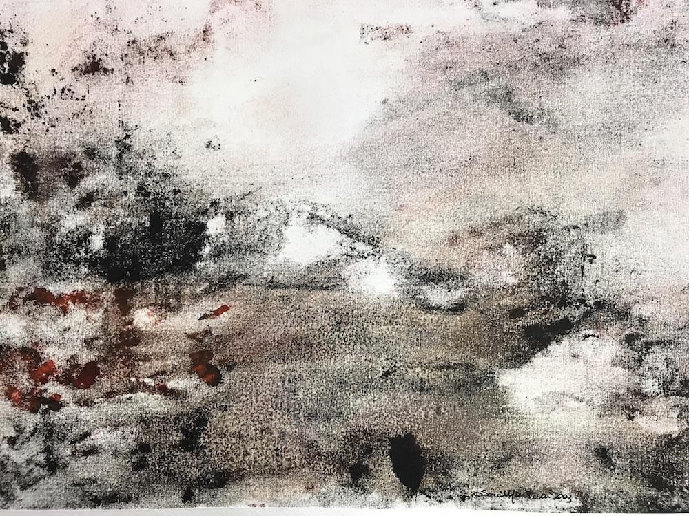 Sara Montani,  Alba , 1993. Controstampa, tecnica mista, 35x50 cm
