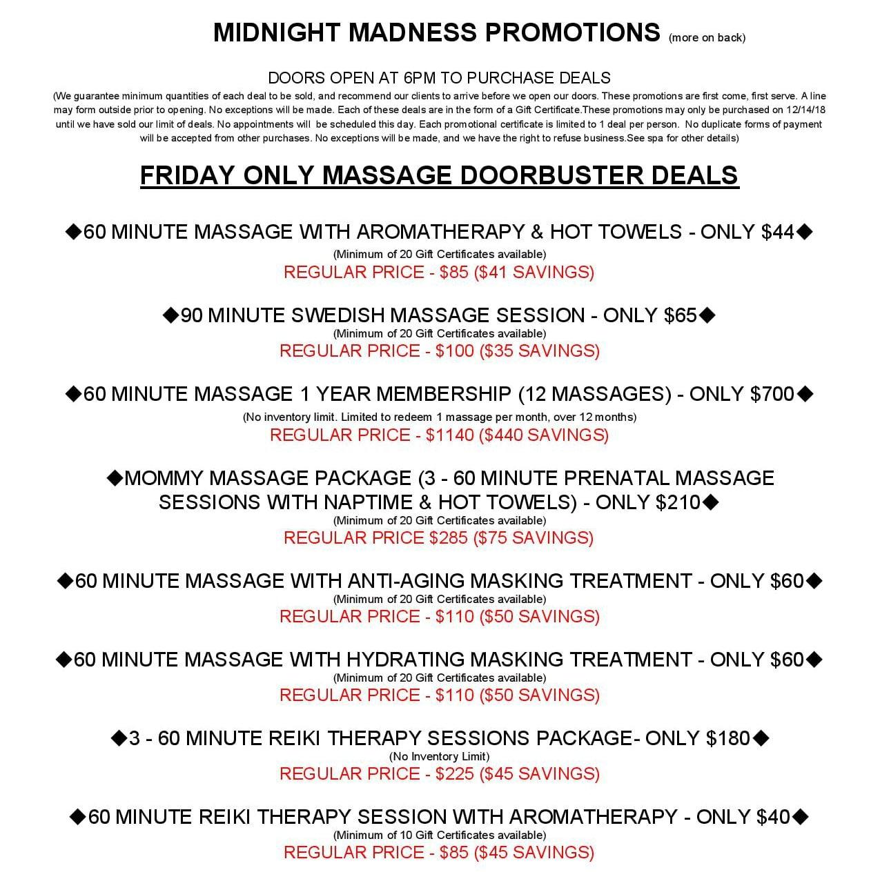 Spa Remedy Midnight Madness Sale Frankfort Illinois