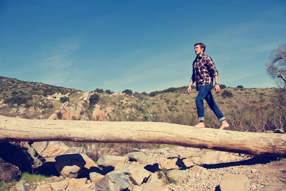 Hiker walking on a log. san diego lifestyle photographer, san diego lifestyle photography, southern California lifestyle photographer, California lifestyle photographer, lifestyle photographer