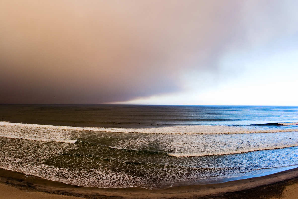 Smoke over the ocean in Encinitas, CA. san diego commercial photography, san diego commercial photographer, southern California commercial photographer, California commercial photographer