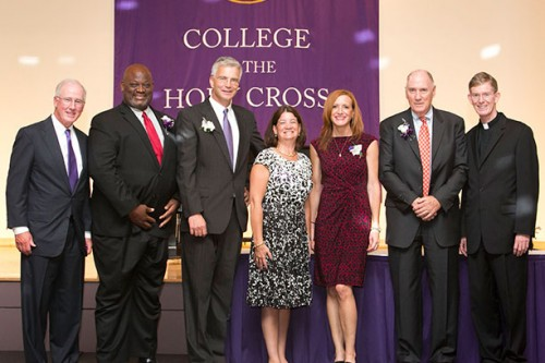 From left, John Mahoney, chair of the board of trustees; Rev. John H. Vaughn '82; William K. Olsen, Jr. '86; Joan Hogan Gillman '85; Shannon C. Carroll '92; David G. Butler, M.D. '61; Rev. Philip L. Boroughs, S.J., president. Image by Shannon Power