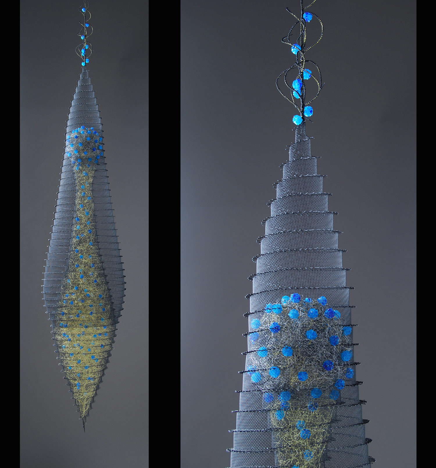 """Blue Elixir"" is one of two suspended works that are in ""Game Changers,"" an exhibition at the Fuller Craft Museum in Brockton, MA. The exhibition runs until November 23, 2014. This piece and ""Teal Elixir"" are part of the museum's permanent collection."