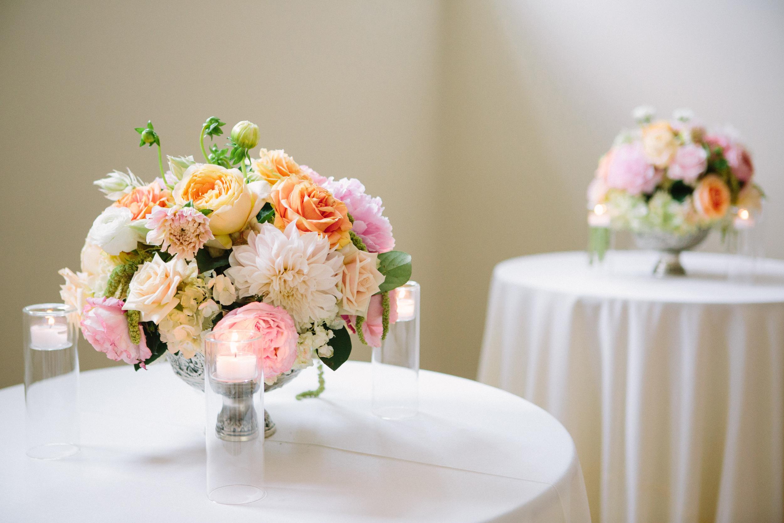 Dahlias, garden roses wedding centerpieces