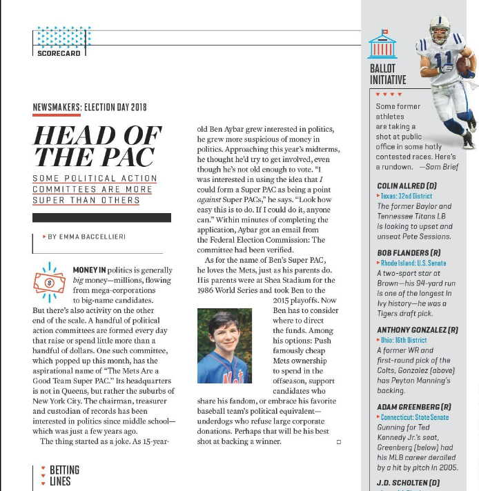 HEAD OF THE PAC - A teen's New York Mets PAC(Oct. 22, 2018; more online.)