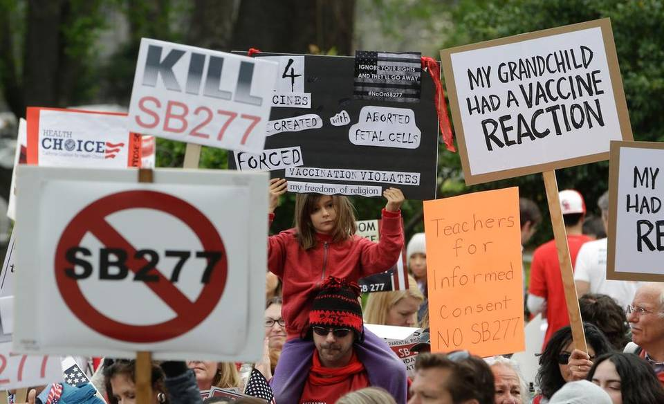 Protesters against legislation requiring California schoolchildren to get vaccinated rally at the Capitol this month. Senate Bill 277, if approved, would require most California parents to vaccinate their children as a condition of enrolling them in private or public schools.     Rich Pedroncelli   The Associated Press