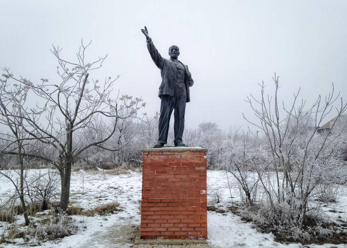 The bronze statue of Lenin at Memento Park in Budapest, Hungary, a museum exhibiting dozens of Socialist-era statues and monuments removed from the streets of Budapest after the fall of the communist regime.