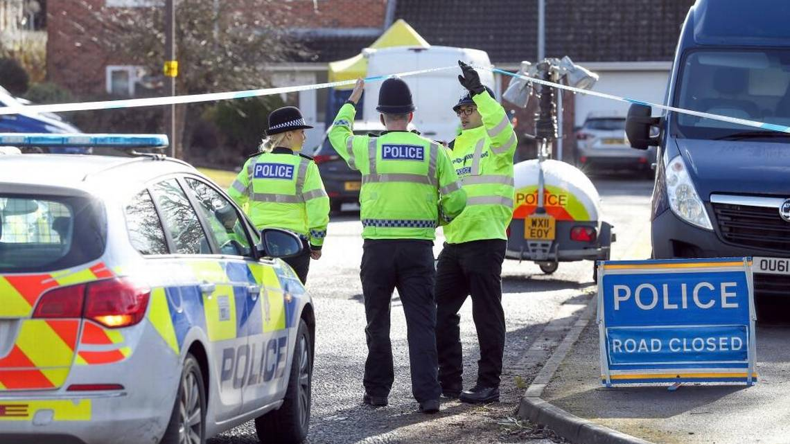 Police officers seal off a cul-de-sac in Salisbury, England, near to the home of former Russian ex-spy Sergei Skripal as a nerve agent is believed to have been used to critically injure him and his daughter Yulia. Britain's Home Secretary says the investigation into the nerve agent attack on a Russian ex-spy and his daughter is focusing on three sites â his home, a pub and a restaurant.Andrew Matthews AP
