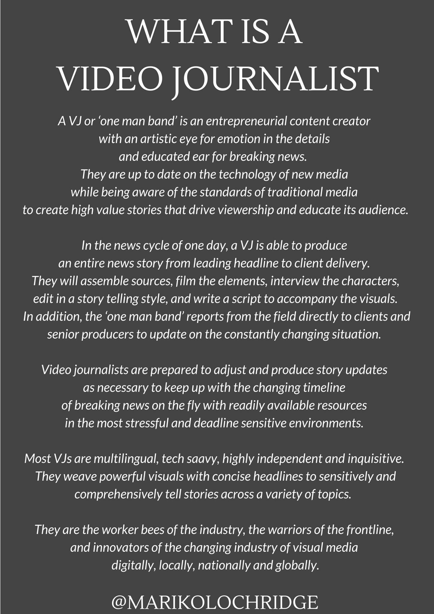 What is a Video Journalist?