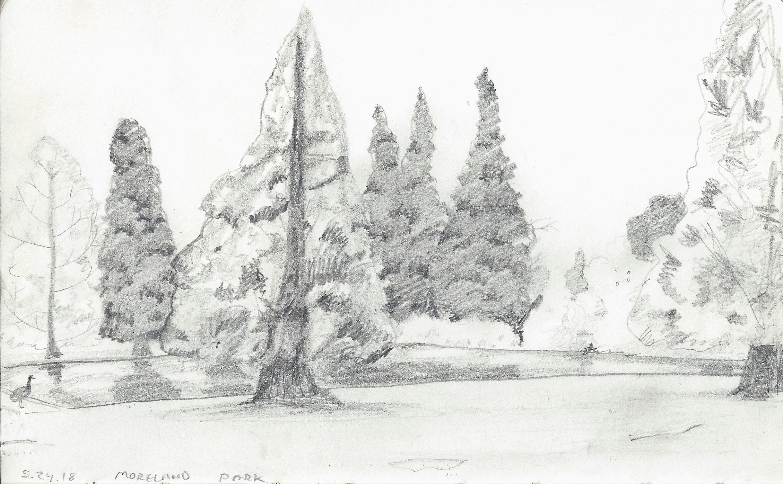 """$25   Moreland Park  8""""x5"""" pencil on sketchbook paper"""