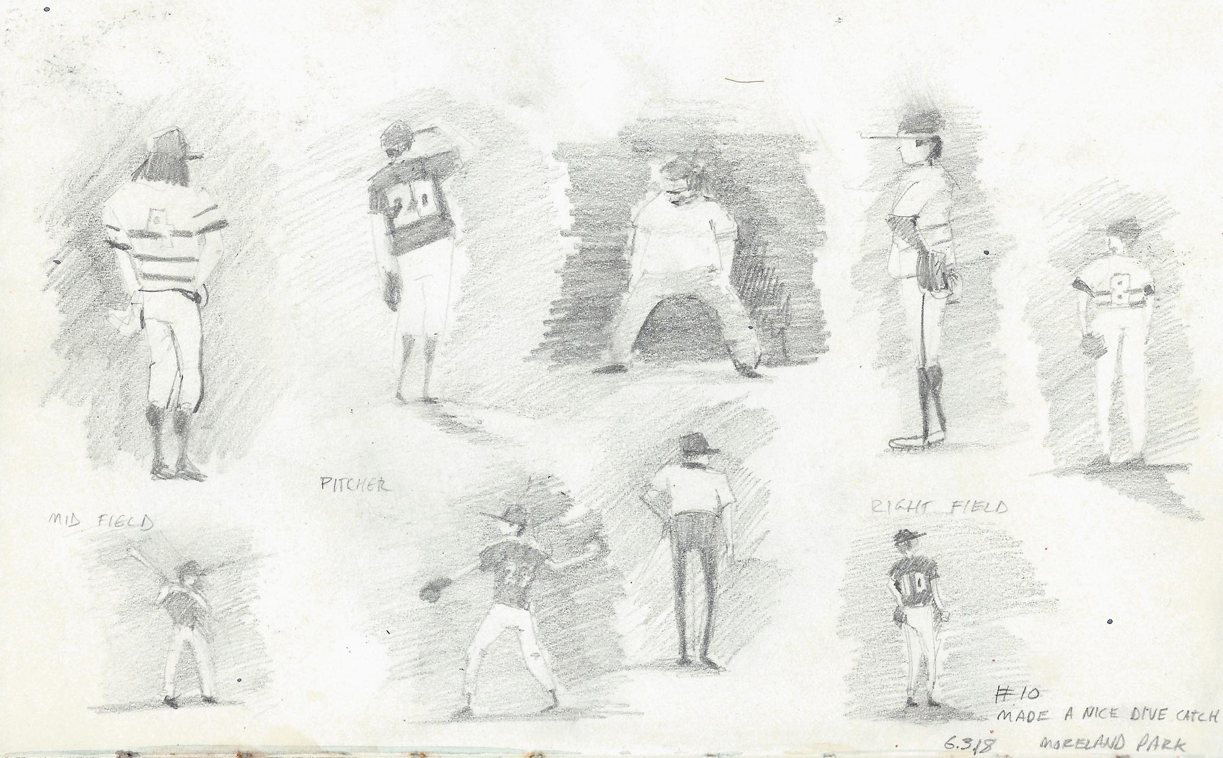 "$25   Baseball  8""x5"" pencil on sketchbook paper"