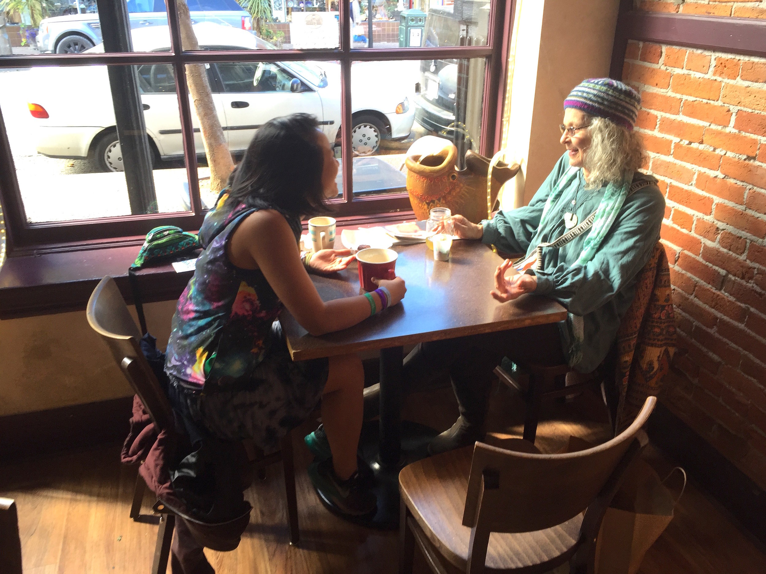 Linda and I having a lovely coffee date interview