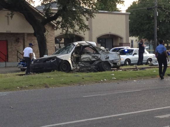"""""""Pam Stigler's car after the accident that killed her on St. Claude Street on Sunday.""""                    (The New York Times SJI)"""