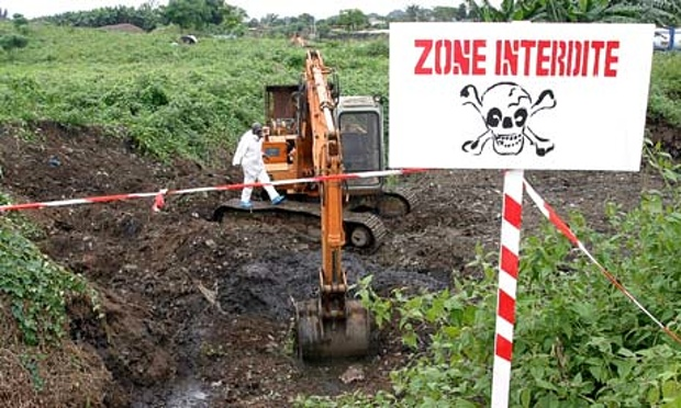 A site in Ivory Coast being excavated to remove toxic waste. Photograph: Legnan Koula/EPA via 'The Guardian'