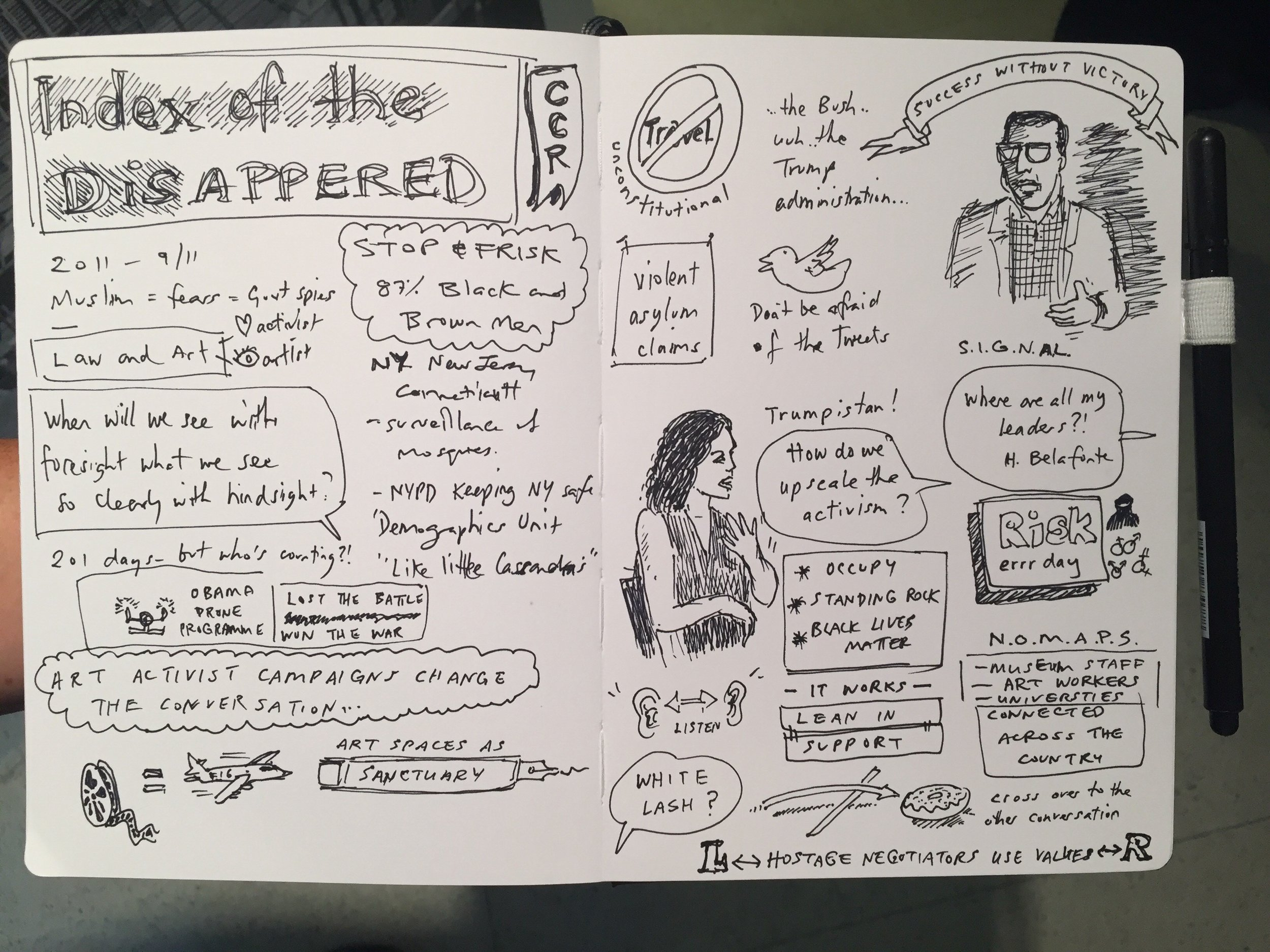 Eric Ngan 's sketchnotes of the Summer of Know conversation between artist  Mariam Ghani  and  Vincent Warren  (Center for Constitutional Rights).