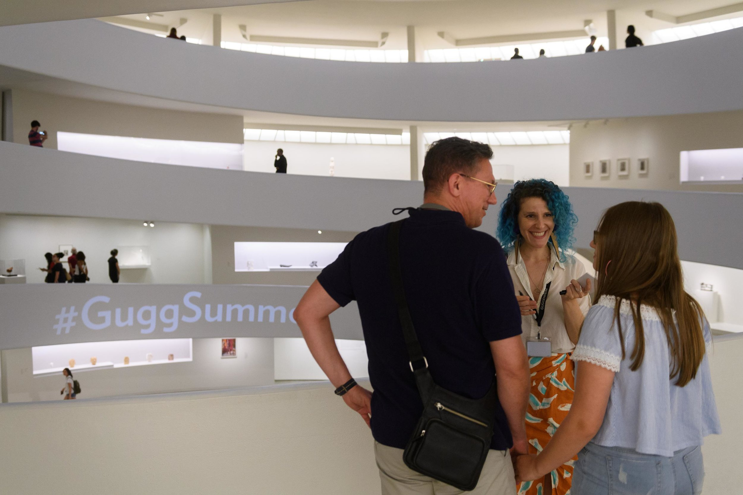 Interacting with visitors during a lighthearted Gallery Encounter.
