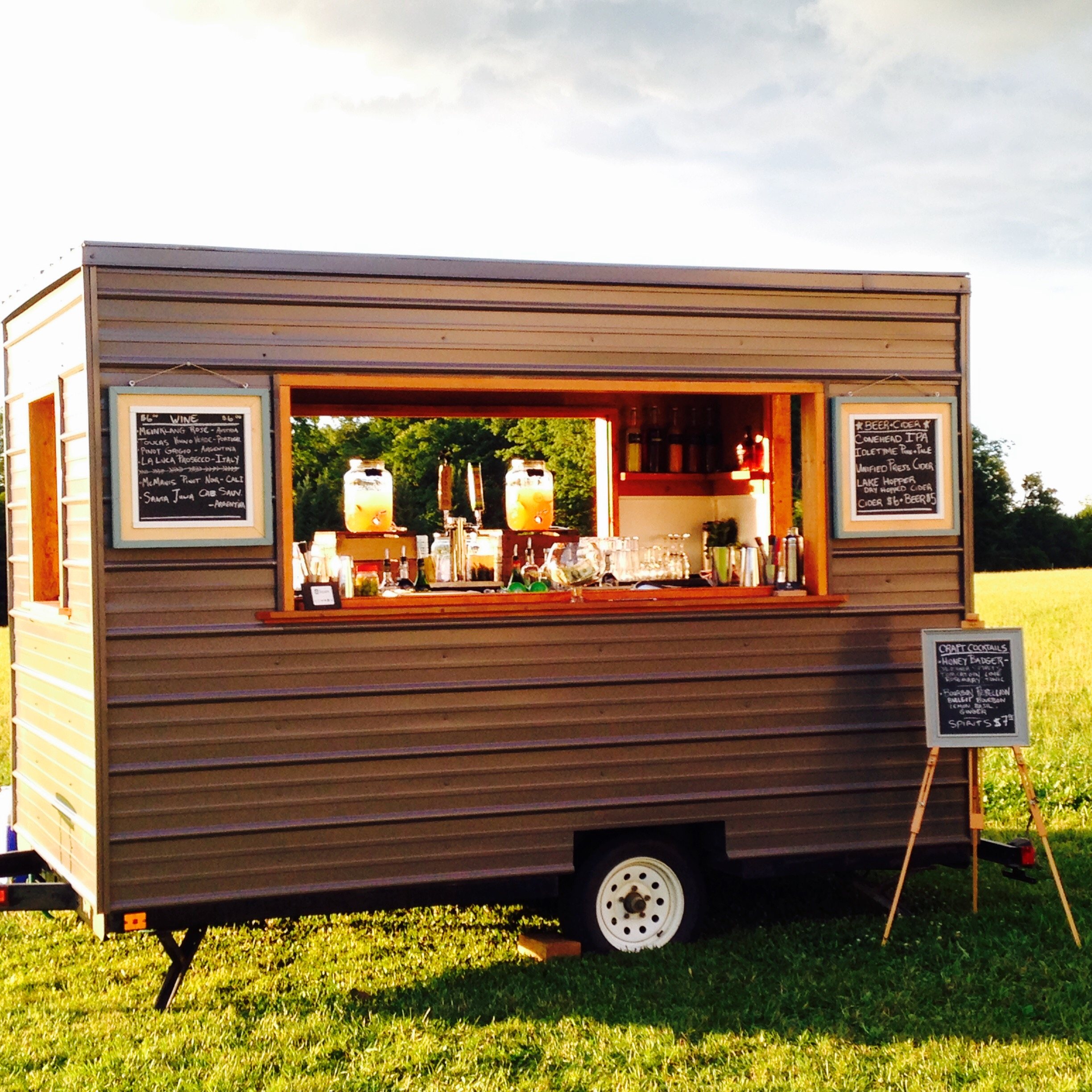 Inquire about our mobile bar trailer for your next event!