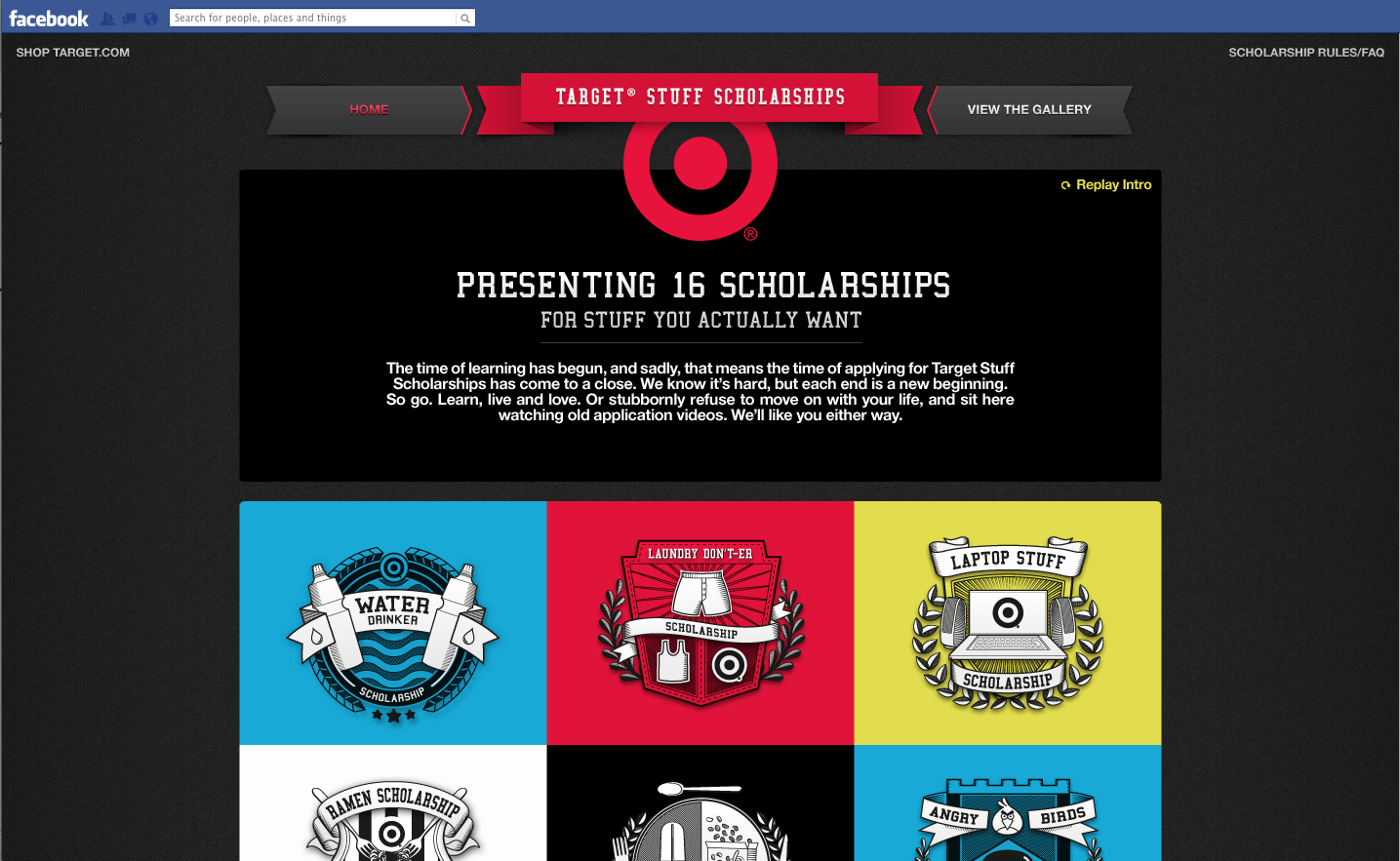 Homepage of the experience. User is greeted with an introductory video and selects the scholarship that they'd like to apply to from here.