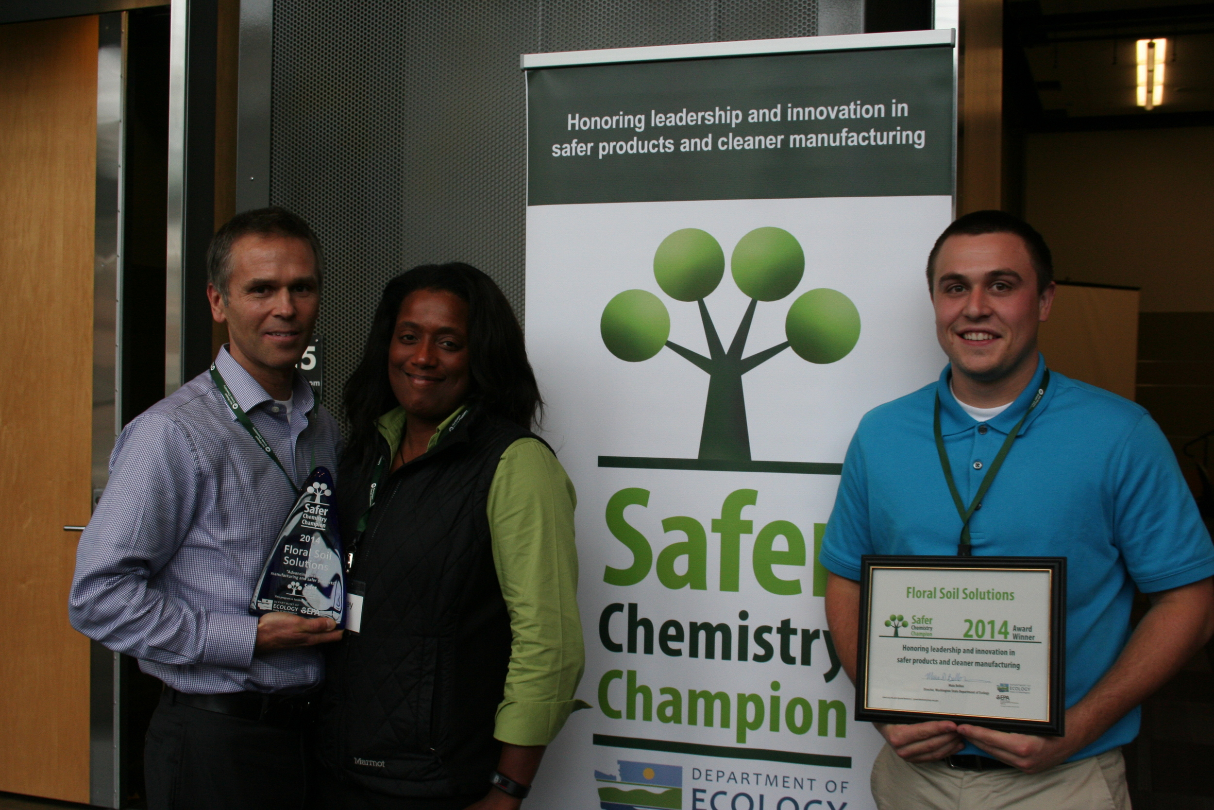 Pictured from left to right - Pete Kegel (GM), Mickey Blake (Floral Soil Inventor & CEO), Reid Jones (Director of Operations)