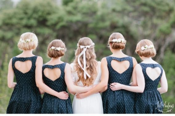 heart-backed bridesmaids dresses