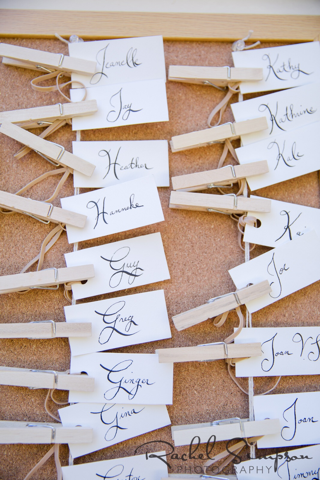 Tags for the pilsner glasses that were favors - calligraphy done by the bride