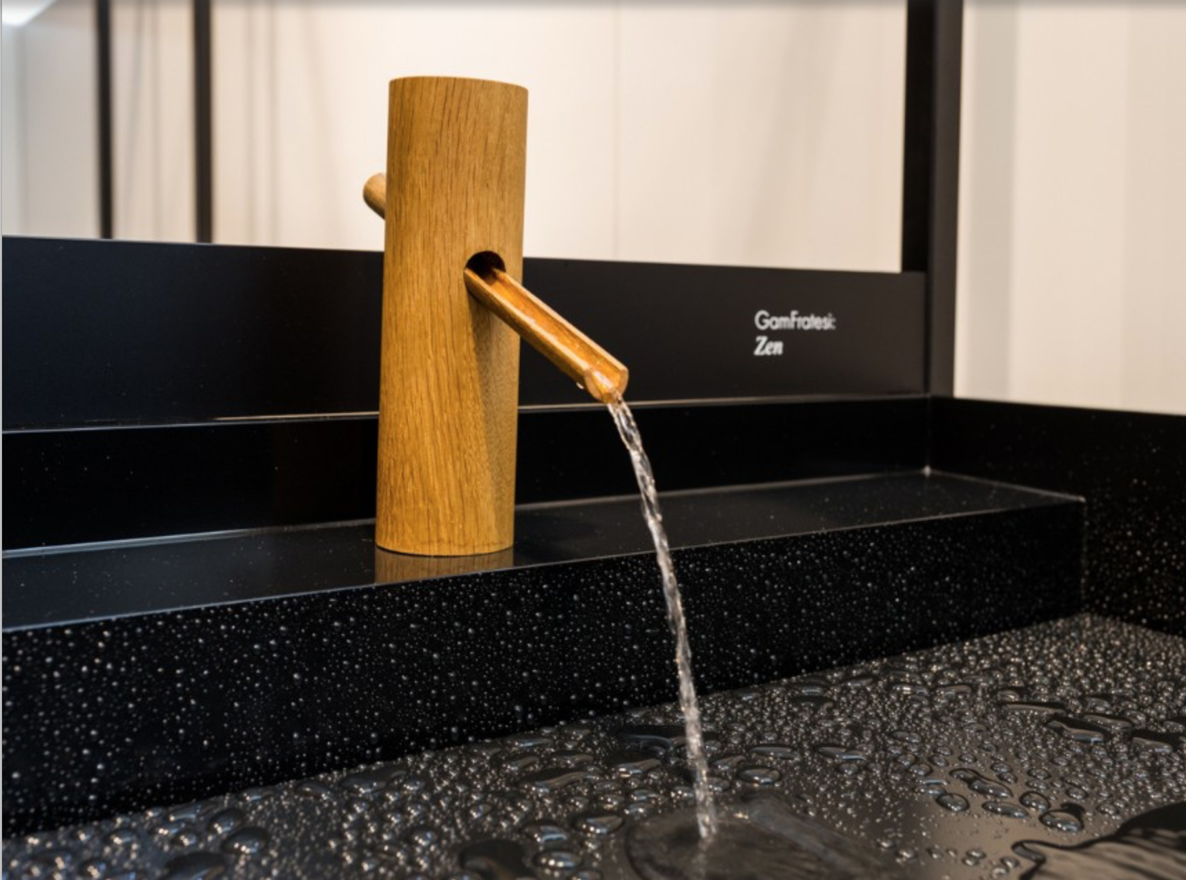 Clean lines of a bamboo faucet