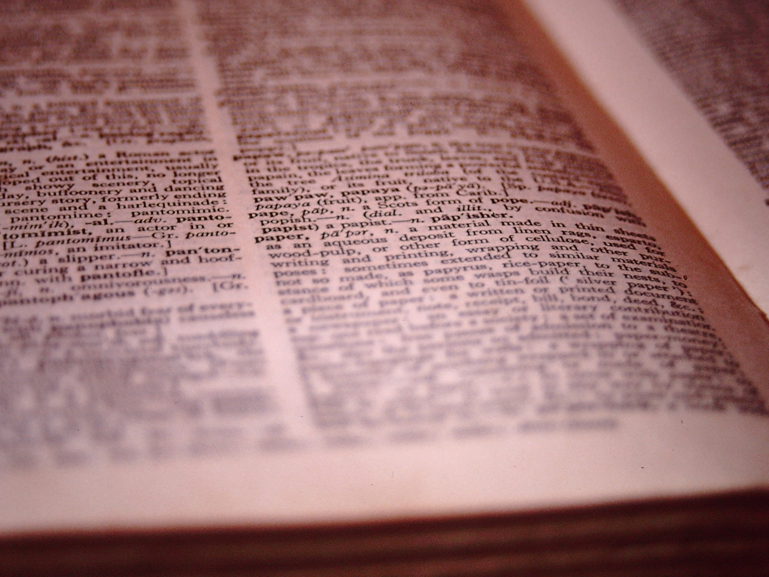 Dictionary open to page highlighting word 'paper'.