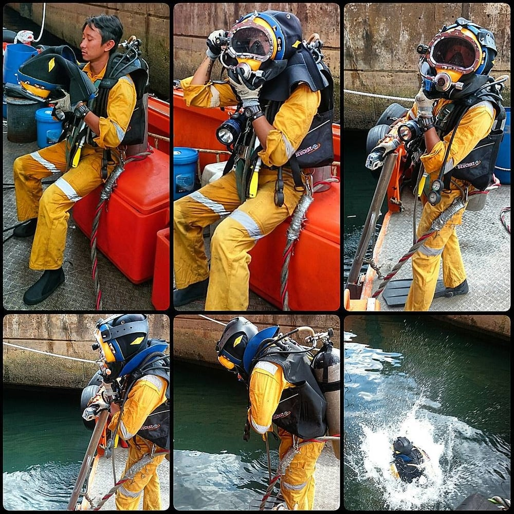 Darren in his usual get up before taking the plunge into the deep sea.