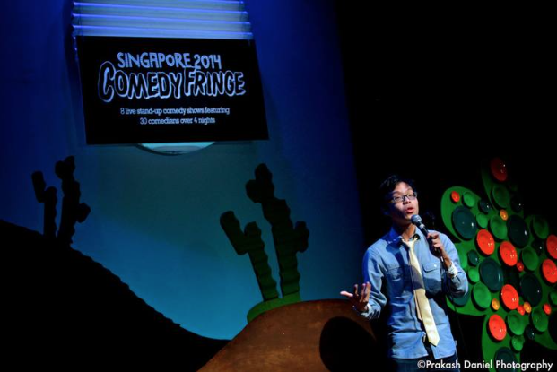 Sam See (Above) performing at the Singapore 2014 Comedy Fringe Festival.