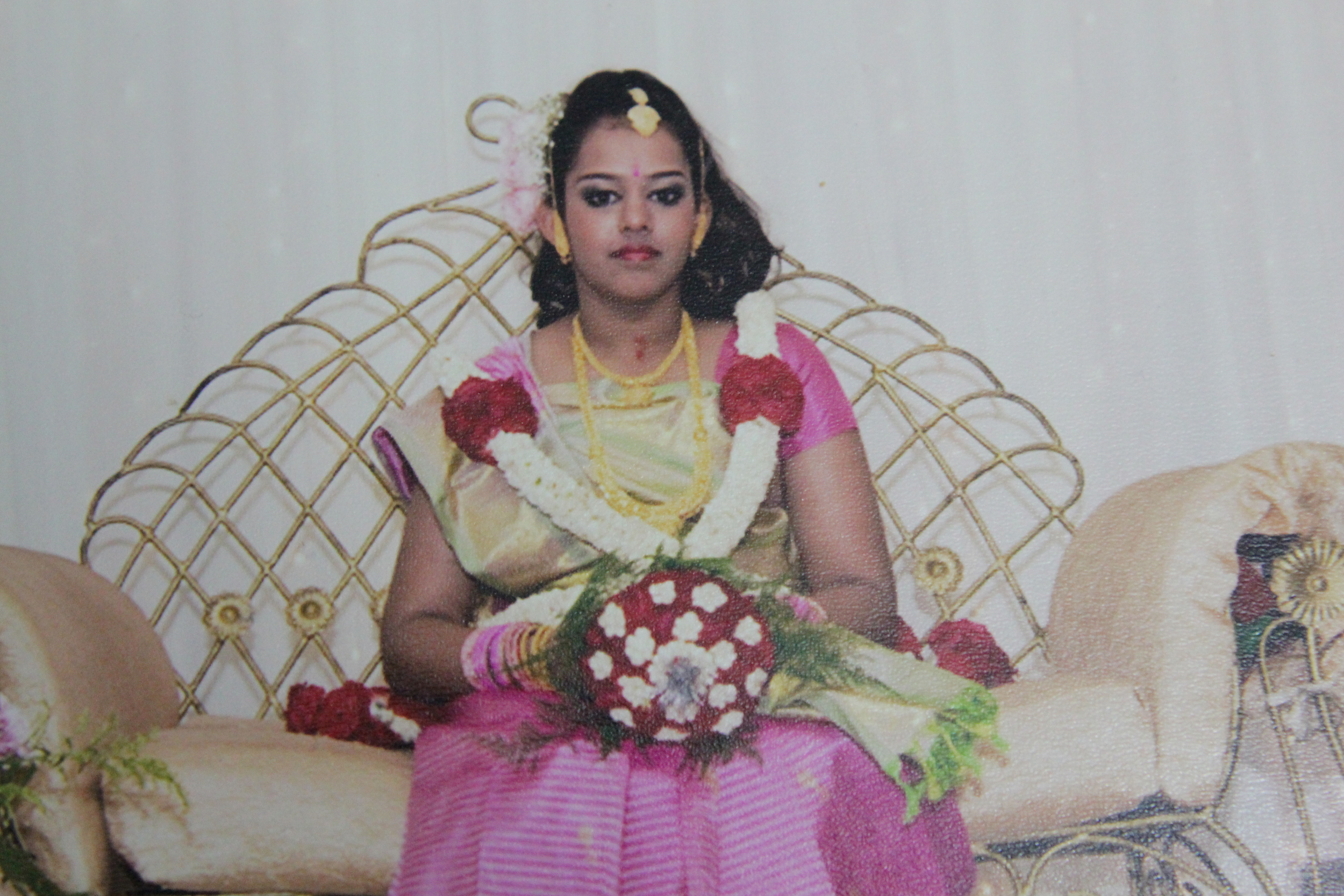 Nivitha at her second Sadangu ceremony, wearing a saree given by her youngest uncle